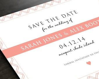 Modern Striped Wedding Save the Date - Heart Wedding - Modern, Elegant Invite - Wedding Invite - Custom Colors - Save the Date Card