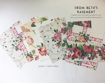 Designer Wallpaper Sample Pack - Wallpaper Sheets for Scrapbooking and Cardmaking - Shabby Chic Cottage Floral Prints - Choose your Mix