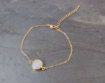 druzy bracelet white,  raw crystal jewelry,  raw crystal bracelet, druzy agate bracelet,  crystal jewelry, bohemian , boho wedding jewelry