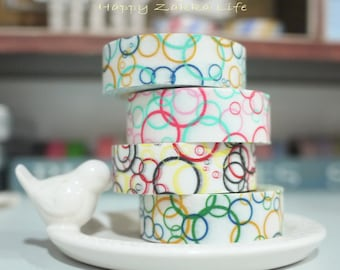Japanese Washi Masking Tape Set - Soap Bubble Series - 4 rolls in different colors - 11 Yards (each roll)