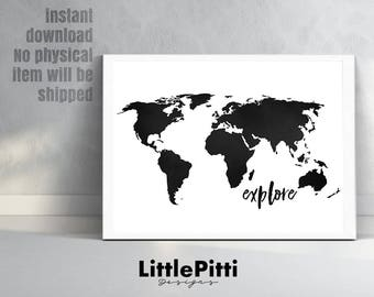World map print world map poster black and white large explore world map print travel print world map poster black white world map wall art explore the world explore wall art 18x24 11x14 gumiabroncs Choice Image