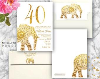 Indian themed 40th Birthday Invitation // Bollywood // Elephant // Paisley // Gold // Forty // Mehndi // Henna // JAIPUR COLLECTION