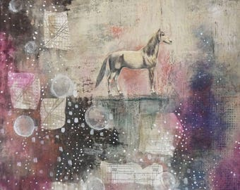 Extra Large Horse Wall Art- Original Abstract Painting, Modern Art and Farmhouse Wall Decor