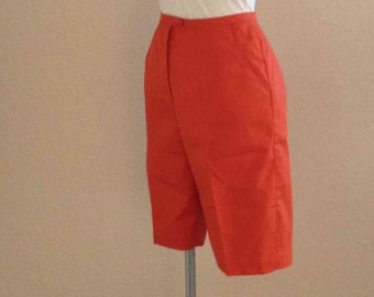 Vintage 70s 80s Orange High Waisted Shorts // Sweet Swinger // Summer Thigh Length Knickers // Fitted High Waist //  Picnic Summer Wear
