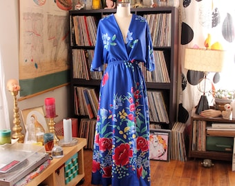 80s vintage floral wrap dress or swimsuit cover up maxi dress with dolman angel sleeves . womens small medium