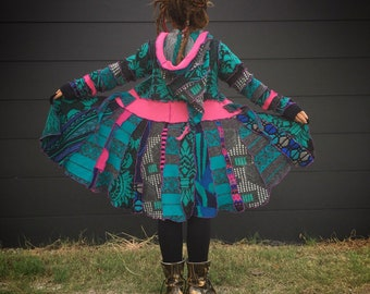 Pixie coat made fom upcycled material inspired by katwise