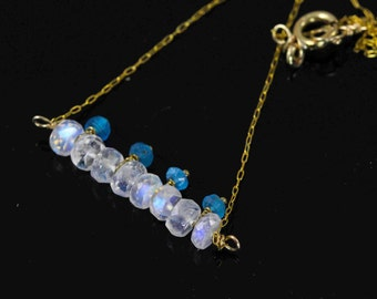 50% off. Bar necklace, 4K gold fill necklace, moonstone and apatite pendant, gemstone necklace, while and blue  handmade jewelry
