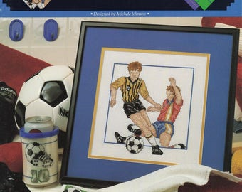Free Us Ship X Cross Stitch Pattern Great Big Graphics Out of Print Booklet World Cup Soccer Like New 7 pages New Old Store Stock  vcl 20120