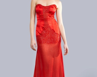 ROSE - Beaded strapless Gown