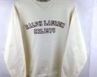 MEGA SALE !! Chaps Ralph Lauren Sweatshirt Spellout Big Logo Crewneck Jumper Rare Design Medium Size
