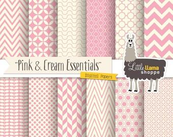 SALE: Pink Digital Paper Pack, Geometric Patterns, Soft Pink & Cream, Chevron Quatrefoil Herringbone Polka Dot, Commercial Use