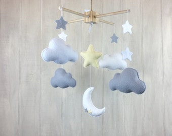 Baby mobile - cloud mobile - star mobile - moon mobile - grey and white gender neutral mobile