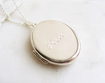 Peace Silver Locket, Silver Locket Necklace with 'Peace' Engraving