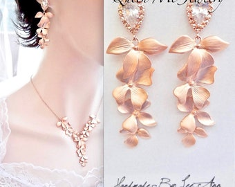 Rose gold orchid earrings, Cascading rose gold orchid earrings, Rose gold over sterling posts, Beach wedding earrings, Rose gold wedding