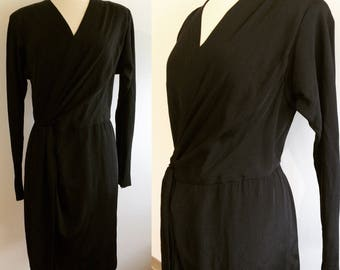 1980s Vintage Black Wrap Dress Soft silky jersey material, gorgeous!
