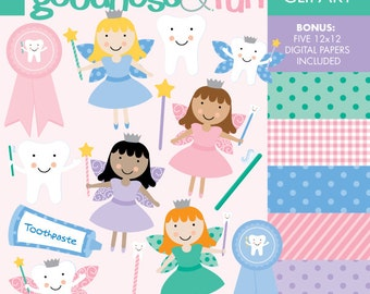 Buy 2, Get 1 FREE - Tooth Fairy Clipart - Digital Tooth Fairy Clipart - Instant Download