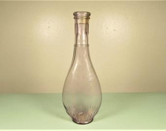 Purple Lavendar Glass Barber Bottle - Vintage Antique Blown Shampoo Tonic