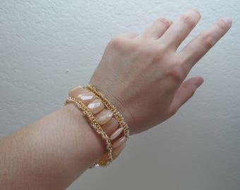 Wedding Peach Beaded Cuff Bracelet