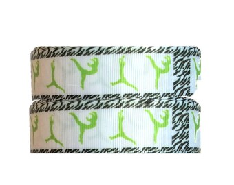 "1"" Lime Green Gymnastics ~ Dance ~  Grosgrain Ribbon ~ Trim ~ Hair Bows ~ Gift Wrap ~ Scrapbook ~ 1 inch"