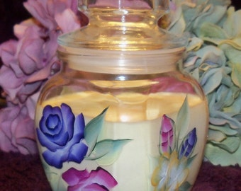 Hand Painted with Roses and scented with Black Currant