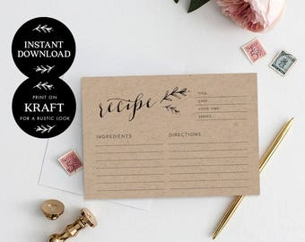 Recipe cards printable, INSTANT DOWNLOAD, Printable Recipe Card, Bridal Shower Recipe Card, DIY Recipe Cards, Rustic Recipe Cards - Lilly