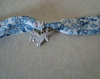 Liberty blue, white charm bracelet with donkey