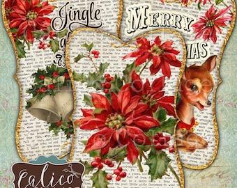 Christmas Tags, Printable, Digital, Collage Sheets, Junk Journal Tags, Vintage Christmas, Printable Tag, Merry Christmas, Calico Collage,