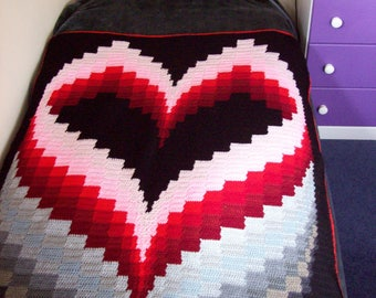 Bargello Heart Blanket PDF Pattern ONLY