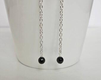 Long chain earrings long stone earrings black onyx earrings minimalist long dangle earrings for women