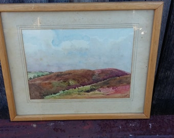 Original Vintage Watercolour Hanny Combe Exmoor