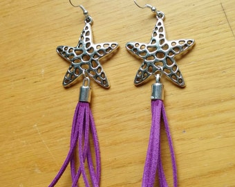 Star earrings, dangle earrings, tassel earrings, stars earrings, long earrings, leather dangle,purple earrings,leather jewelry, tassel jewel