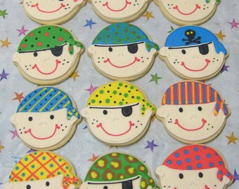 Pirate Face Cookies - Girl Pirate Cookies -  Pirate Decorated Cookies - 1 Dozen