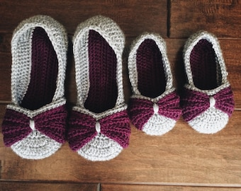 Mommy & Me Bow Slippers - crochet womens girls shoes - purple and gray mother daughter set - crochet slippers