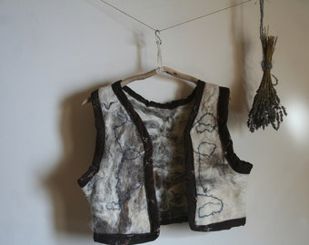 Felted Vest, hand felted earthy waistcoat Natural wool, Viking, Rustic, Folk, woodland
