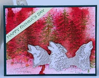 Howling Wolves Father's Day Card, Hand Stamped Wildlife And Nature Card for Dad, Handmade Notecard, Happy Father's Day, Card for Him