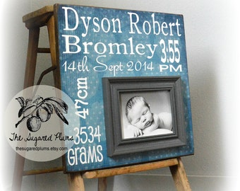 New Baby Boy Gift, Baptism Gift Boy, Birth Stats, 16x16 The Sugared Plums Frames
