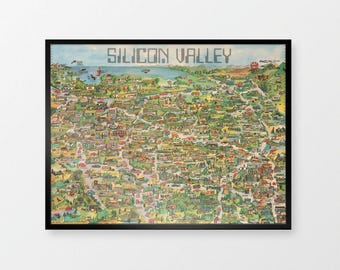 Silicon Valley Map | Reproduction Print of Retro Computing Pictorial Map, Illustrative Map of California, Apple Computer, IBM, Pirates of