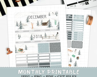 December 2018 Monthly printable planner stickers for Erin Condren LifePlannerTM watercolor winter wonderland monthly snow snowman cut files