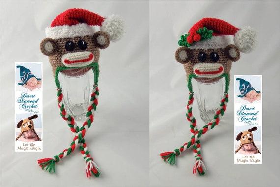 Christmas Santa Sock Monkey Hat - Any Size
