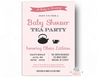 A Baby Is Brewing Invitation // Printable Baby Shower Tea Party Invitation // Baby Shower Tea Invitation // Tea Party Baby Shower Invitation