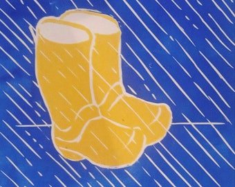 April Showers Rain Boots linocut