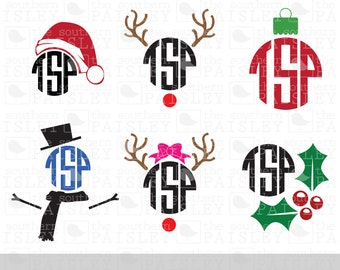 Christmas Monogram Toppers - .svg/.eps/.dxf/.ai for Silhouette Studio, Cricut, or other cutting software