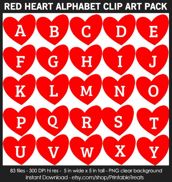 Red Heart Alphabet Clipart Pack - Commercial Use ...