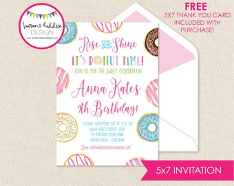 Donut Shop Birthday Invitation, Donut Invitation, Donut Printables, Donut Sprinkles, Donut Birthday Decorations, Lauren Haddox Designs