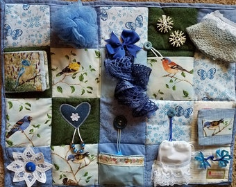 Bluebirds and Butterflies Fidget Blanket - Fidget Quilt for Dementia, Alzheimer, Stroke and Nursing Home patients with many sensory items