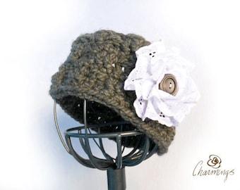 HEADBAND - Elegant Charcoal Crochet Headband, Eyelet Flower, Ear Cozy, Ear Gator, Winter Fashion Apparel
