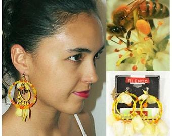 Self Design Cluster Hoop Earrings, Honeybee