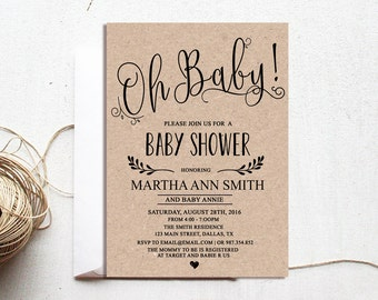Gender neutral baby shower invitations Etsy