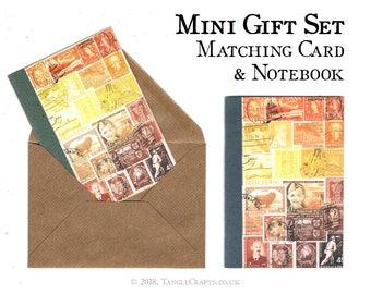 Sunset Notebook & Notecard Gift Set | Bon Voyage Travel Gift | Orange Brown Postage Stamp Print | A6 Journal + Matching Card Stationery Set