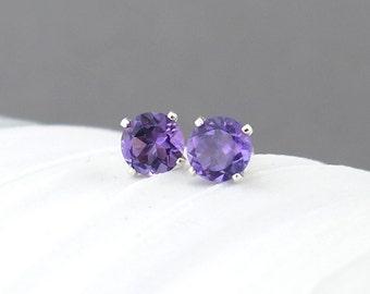 Amethyst Earrings Tiny Silver Earrings Amethyst Stud Earrings Silver Stud Earrings February Birthstone Jewelry Gemstone Post Earrings 4mm